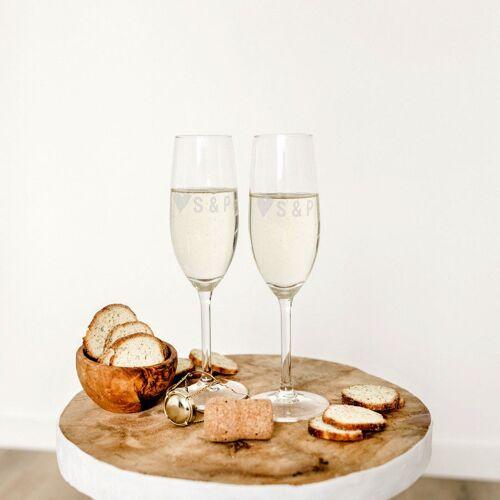 YourSurprise Valentijn champagneglazen graveren - 2 stuks