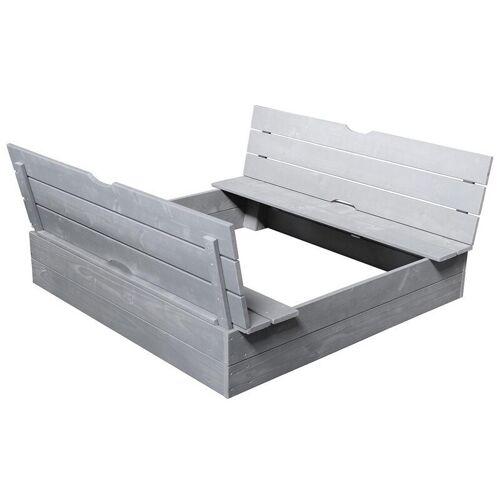 Zandbak met zitbanken en klapdeksel