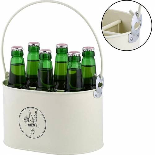 Flessenkrat voor 6 flessen met opener
