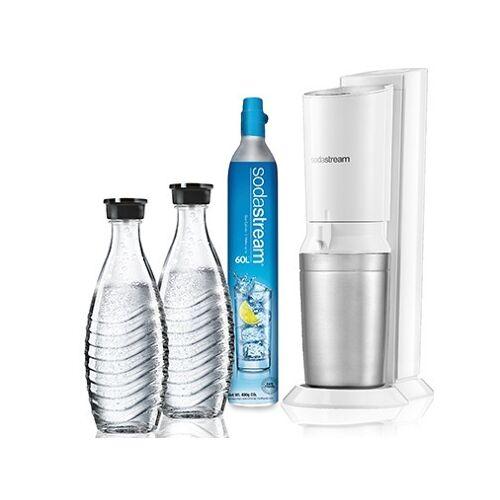 Sodastream Crystal White toestel incl. 2 glazen karaffen en 60L CO2 cilinder Waterkan Aluminium