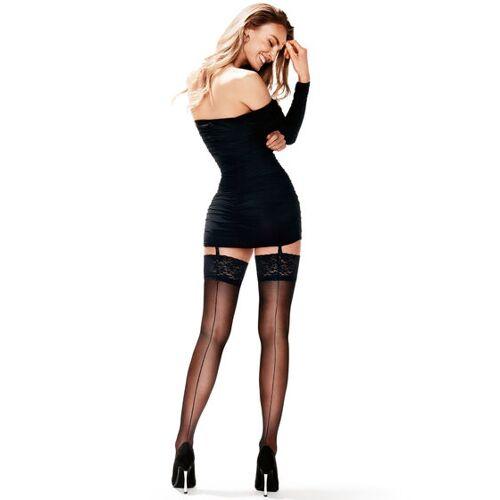 Hunkemöller Stocking 15 denier Lace Backseam Zwart  - Zwart - Size: L/XL