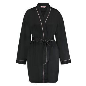 Hunkemöller Kimono Satin Zwart  - Zwart - Size: XL/XXL