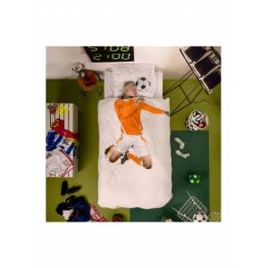 Snurk Soccer Champ Orange dekbedovertrekset van biologisch katoen 160TC - inclusief kussenslopen - Wit