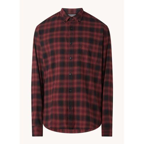 MANGO Balearia regular fit overhemd van flanel met ruitdessin - Donkerrood