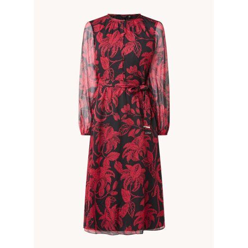 Ted Baker Rococo midi jurk met bloemenprint en strikceintuur - Zwart