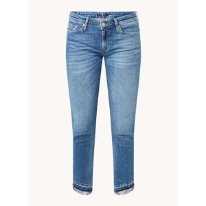 7 For All Mankind Pyper mid waist slim fit cropped jeans met gerafelde zoom - Indigo