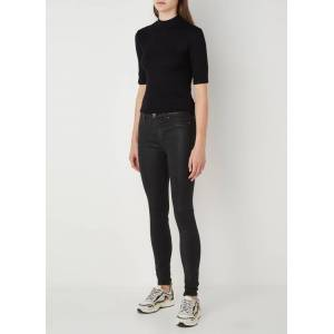 7 For All Mankind Illusion mid waist skinny jeans met coating - Zwart