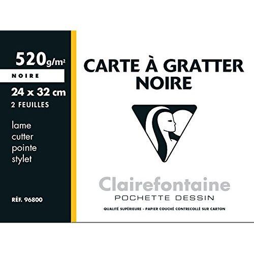 Clairefontaine 96800C een etui om te krassen, 2 vellen, 24 x 32 cm, 520 g, zwart