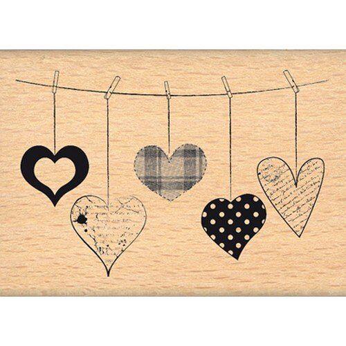 Florilèges Design -Stempel fe212068 hangende harten, voor het versieren van albums, beige, 5 x 7 x 2,5 cm