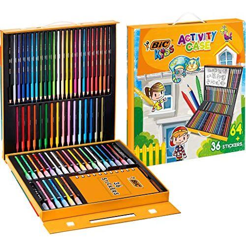 BIC Kids schilderkoffer – 24 kleurpotloden / 24 viltstiften / 16 krijt en 36 stickers om in te kleuren