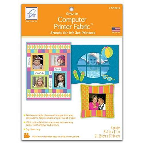 June Tailor JT901 Sew-In Computer Printer Fabric, 8,5 x 11 inch, Wit