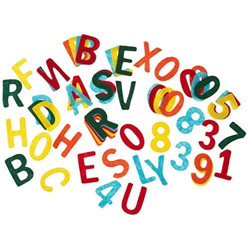 Rayher Vilten ponsdelen, 4 cm hoofdletters en cijfermix, ca. 230 stuks kleurrijk gemengd, alfabet letters cijfers van knutselvilt in voordeelverpakking, voor creatief knutselen met kinderen