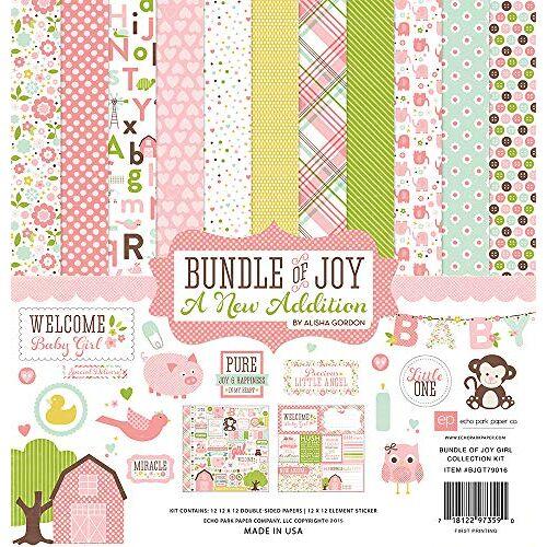 """Echo Park Paper Echo Park Collection Kit 12"""" x 12"""", Bundel van vreugde/Een nieuwe toevoeging Baby Girl"""