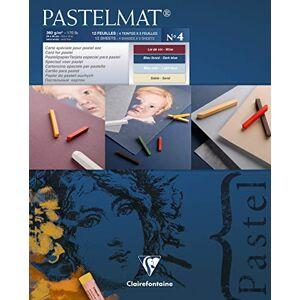 Clairefontaine 96111C Tekenblok Pastelmat (12 vellen, 24 x 30 cm, 360 g, met 4 transparante scheidingsbladen, speciaal karton ideaal voor pastel en krijt) donkerblauw, lichtblauw, rood en geel