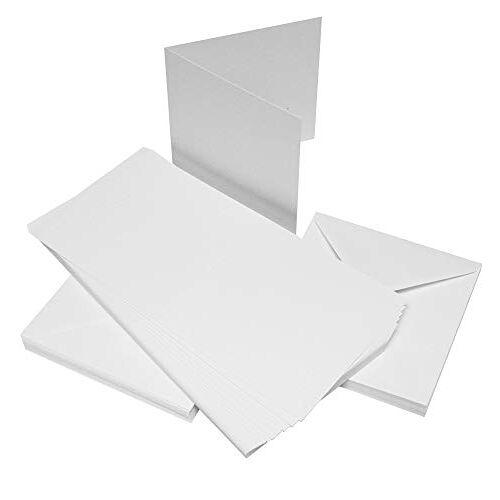 Crafts UK 50 kaarten en enveloppen, wit, 10,1 x 10,1 cm