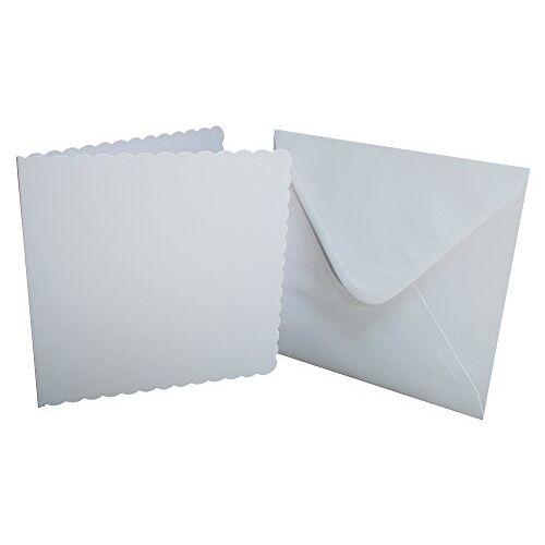Crafts UK 25 Scalloped kaarten en enveloppen, wit, 20,3 x 20,3 cm