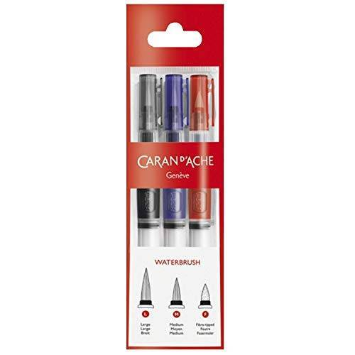 Caran d'Ache Set van 3 penselen met waterreservoir.