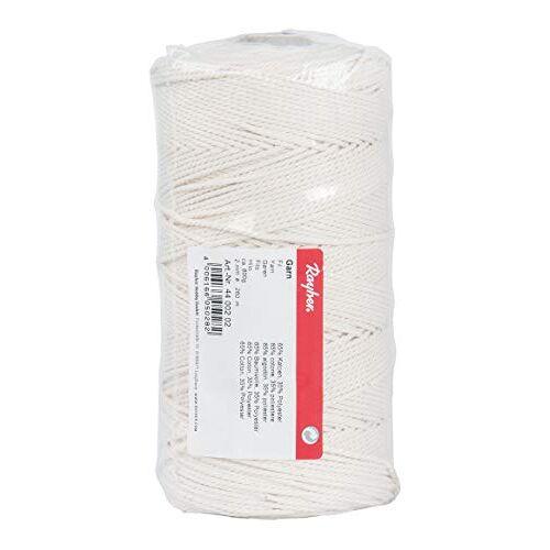 Rayher 4400202 garen, 2 mm ø, wit, spoel 260 m, ca. 600 g, 65 procent katoen, 35 procent polyester, katoengaren, katoenen koord, macramégaren, kettinggaren, koord, koord om te knutselen