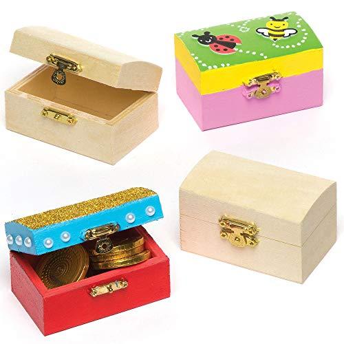 Baker Ross Mini houten sieraden doos schatkisten, creatieve kunst en ambachten voor kinderen (Pack van 4), 8cm x 5cm