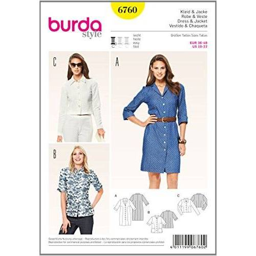 Burda b6760 Beschermende patron van jurk en jas