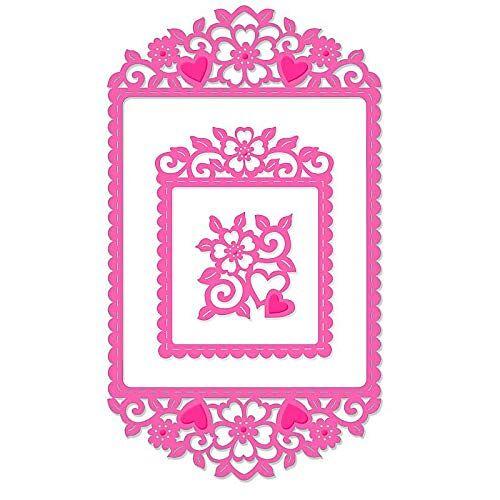 Sweet Dixie Hart & Bloemen Frame Sterf, Metaal Grijs, 29,5 x 15,8 x 0,8 cm