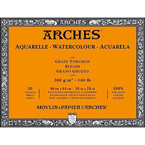 Arches 1795089 aquarelpapier in blok (46 x 61 cm, 4-zijdig gelijmd, 300 g/m² grofkorrel) 20 vellen natuurlijk wit