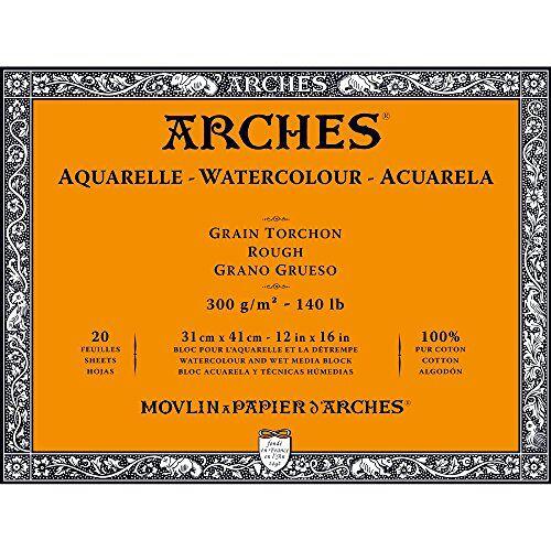 ARCHES 1795087 aquarelpapier in blok (31 x 41 cm, 4-zijdig gelijmd, 300 g/m² grofkorrel) 20 vellen natuurlijk wit
