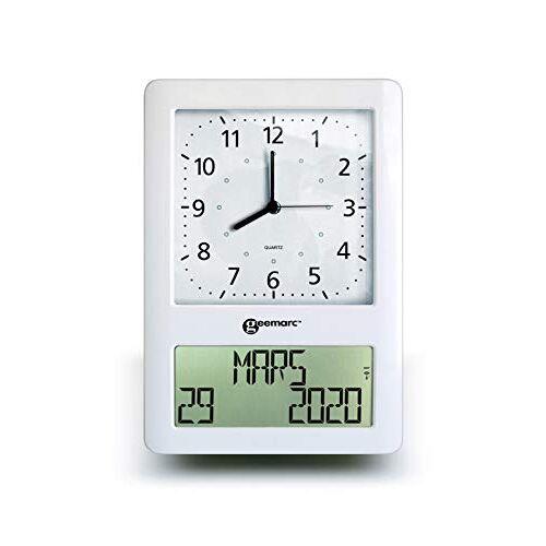Geemarc VISO 50 radiogestuurde klok met dubbele weergave, digitaal en analoog, wit