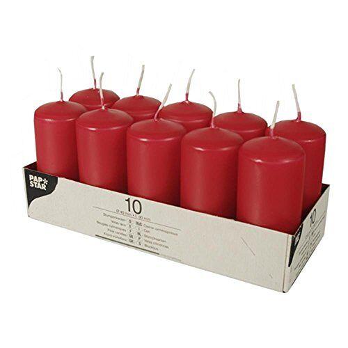 PAPSTAR Stompkaarsen/zuilkaars rood (10 stuks)
