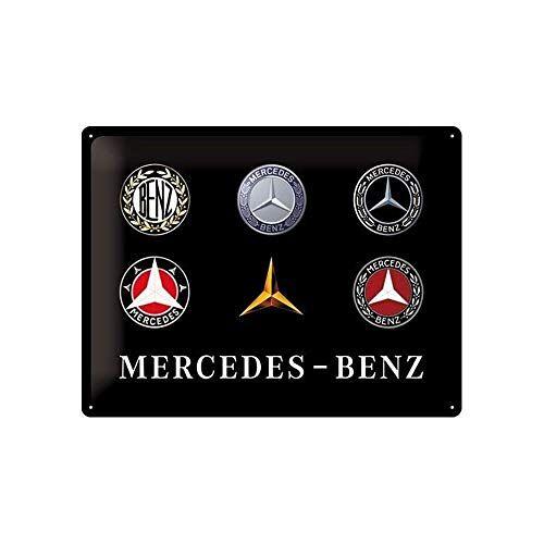 ART , Metalen Retro Bord, Mercedes-Benz – Logos – Geschenkidee voor liefhebbers van autoaccessoires, van metaal, Vintage ontwerp, 30 x 40 cm