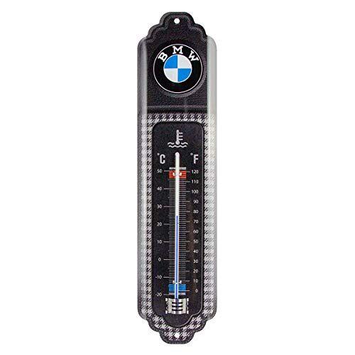 ART 80323, Analoge Thermometer, BMW Classic – Geschenkidee voor liefhebbers van autoaccessoires, van metaal, Deco vintage design, 6,5 x 28 cm
