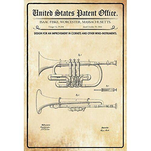 Schatzmix Patent Ontwerp voor blaasinstrumenten-viske metalen bord decoratie tin Sign blikken bord, blik, meerkleurig, 20x30 cm