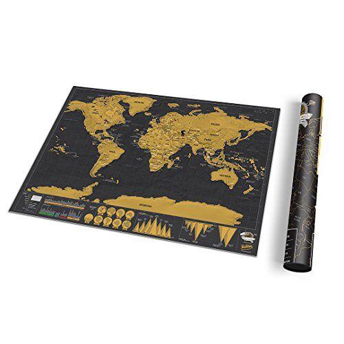 Luckies of London Wereldkaart om te krassen De originele kraskaart deluxe, klein, 29,7 x 41,9 cm