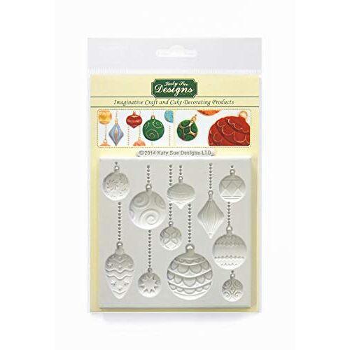 Katy Sue Kerstballen siliconen mal voor taartdecoratie, ambachten, cupcakes, suikerwerk, koekjes, snoepjes, kaarten en klei, voedselveilig goedgekeurd, gemaakt in het Verenigd Koninkrijk, grijs