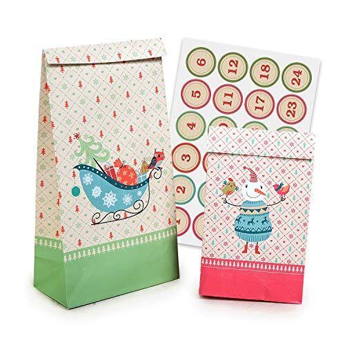 pajoma Adventskalender om te vullen met Kerstmis 24 gecoate papieren zakken geschenkzakken Kerstmis, kerstkalender knutselset incl. adventsgetallen stickers van