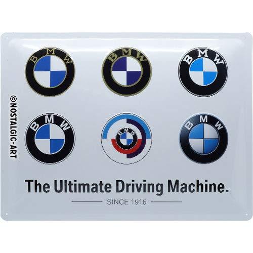 ART Metalen Retro Bord, BMW – Logo Evolution – Geschenkidee voor liefhebbers van autoaccessoires, van metaal, Vintage ontwerp, 30 x 40 cm