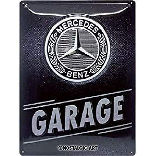 ART 23280, Metalen Retro Bord, Mercedes-Benz – Garage – Geschenkidee voor liefhebbers van autoaccessoires, van metaal, Vintage ontwerp, 30 x 40 cm