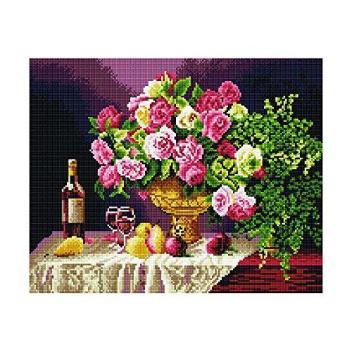 GMMH Diamond Painting met houten frame, schilderij, 40 x 50, diamantschilderij, borduurwerk, handwerk, mozaïekstenen, bloemen, mand, huis op de beek (GJ530)