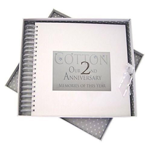 WHITE COTTON CARDS 2 nd Anniversary, kaart & geheugen boek, geheugen van dit jaar