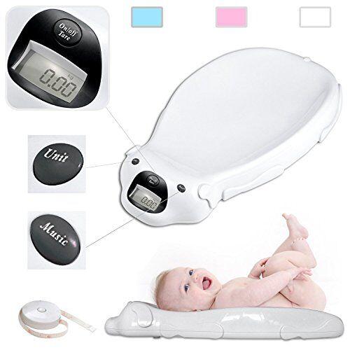 Todeco babyweegschaal, elektrische babyweegschaal, afmetingen: 65,4 x 33,2 x 11,6 cm, maximale belastbaarheid: 20 kg, wit