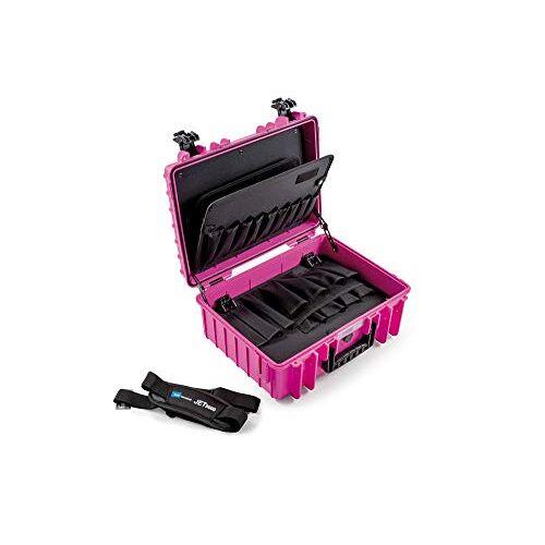 B&W gereedschapskoffer JET 5000 roze met insteekvakken voor gereedschap (koffer van PP, volume 19,1 l, 41,6 x 28,7 x 16 cm binnen) 117.17/P-P, zonder gereedschap