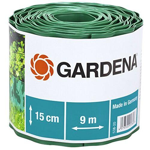 GARDENA gazonrand 15 cm hoog: Ideale gazonafscheiding, ook voor perken, 9 m, voorkomt verspreiding van wortels, hoogwaardig kunststof, groen (538-20)