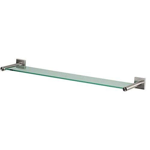 Spirella glazen wandplank NYO badkamerplank plank wandplank voor de badkamer van glas en roestvrij staal 60 cm om te plakken en te boren