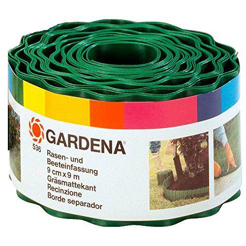 Gardena gazonrand 9 cm hoog: Ideale gazonafscheiding, ook voor perken, 9 m, voorkomt verspreiding van wortels, hoogwaardig kunststof, groen (536-20)