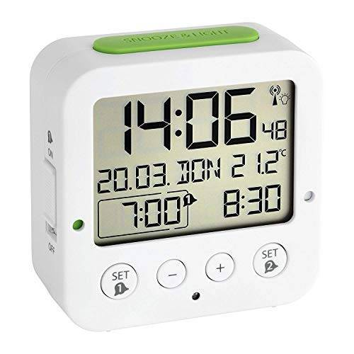 TFA Dostmann Bingo Wekker Digitaal, 60.2528.02, Met Binnentemperatuur, Radiogestuurd, Met Datum En Werkdag, 2 Alarmen, (L) 81 x (B) 33 x (H) 81 mm, Wit/Groen
