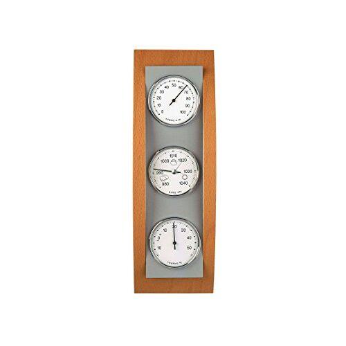 TFA Dostmann Analoog weerstation, van aluminium en hout, barometer, thermometer, hygrometer.