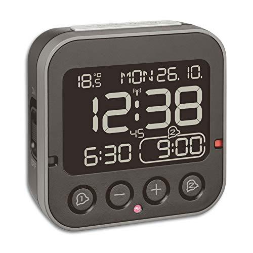 TFA Dostmann Bingo 2.0 Radiogestuurd Wekker, 60.2552.01, Digitaal, Met Temperatuur, 2 Alarmen, Met Datum En Werkdag, Zwart, (L) 95 x (B) 41 x (H) 96 mm