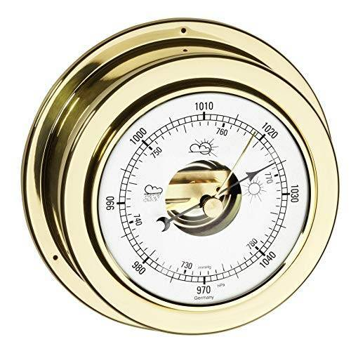 TFA Dostmann Maritim analoge barometer, 29.4010.B, voor weersvoorspelling, van gepolijst messing, vervaardigd in Duitsland
