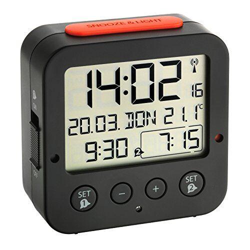 TFA Dostmann Bingo Wekker Digitaal Met Radioklok, 60.2528.01, Met Binnentemperatuur, 2 Alarmen, Met Datum En Werkdag, (L) 81 x (B) 33 x (H) 81 mm, Zwart/Rood