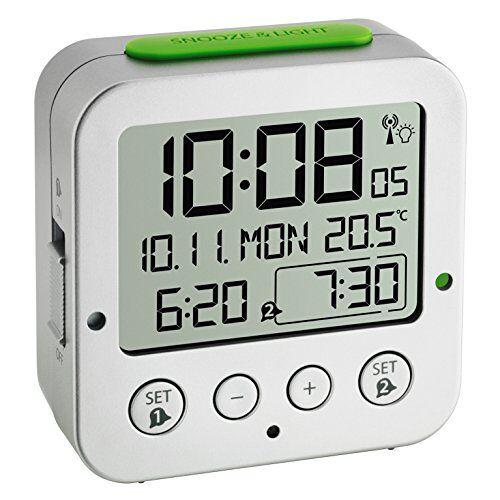 TFA Dostmann Bingo Wekker Radiogestuurd, 60.2528.54, Digitaal, Met Binnentemperatuur, Achtergrondverlichting, Met Datum En Werkdag, 2 Alarmen, (L) 81 x (B) 33 x (H) 81 Mm, Zilver/Groen